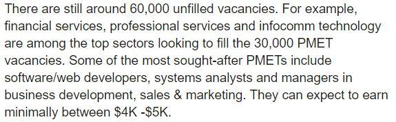 新加坡还有60000个职位空缺